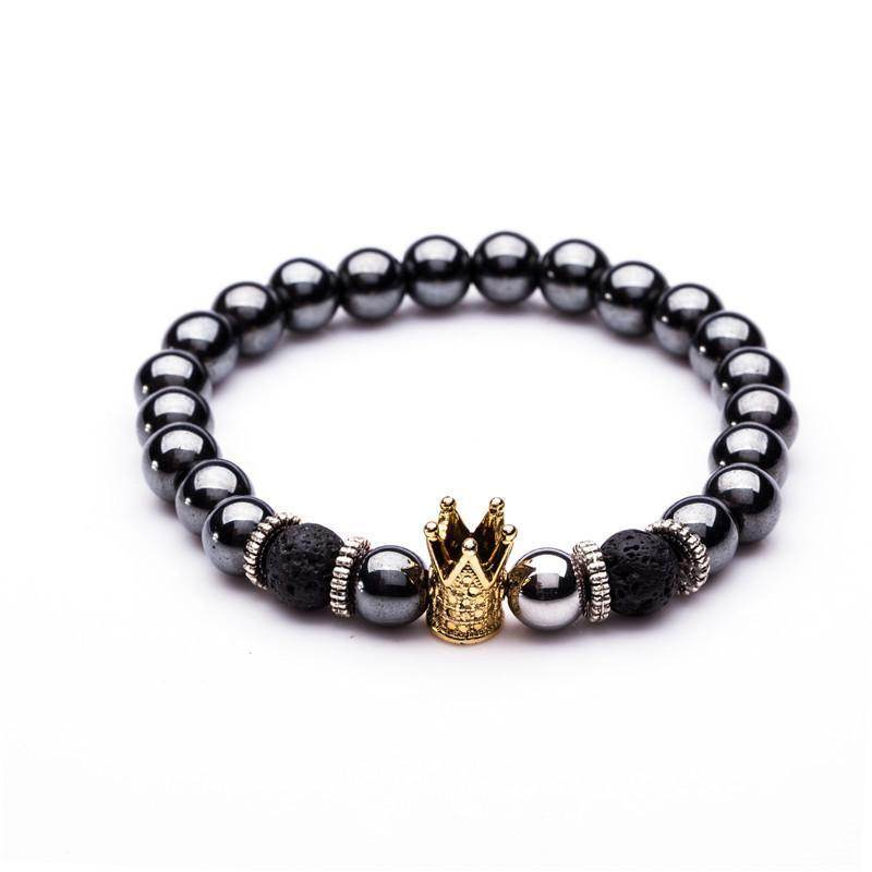 GOLDEN BLACK CROWN NATURAL STONE BRACELET
