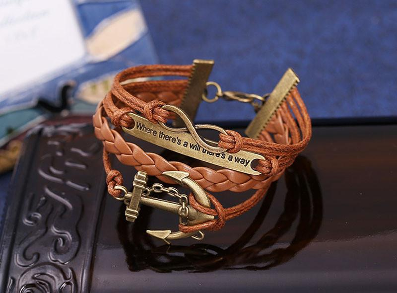 Rudder Anchor Multilayer Knit Leather Chain Charms Bracelet
