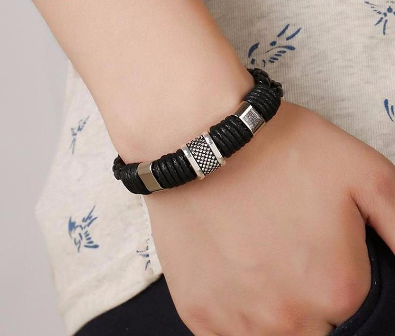 Stainless Steel Leather Hand Woven Bracelet