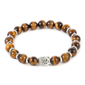 Natural Tiger Eye Stone Bead & Buddha Charm Bracelet - 3 Designs