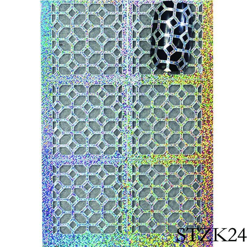 DIY Hollow Irregular Grid Nail Art Stencil 24 Sheets