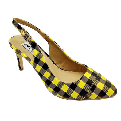 Madison Adrianna Yellow Gingham Kitten Heels