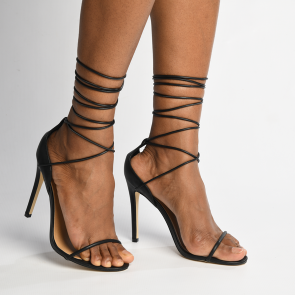 Madison Evie Black High Heel Sandals-Madison Heart of New York