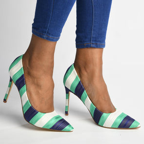 Madison Katinka Green Multi Stripe Court Heels