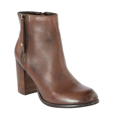 Madison Rosa Choc Leather Ankle Boots