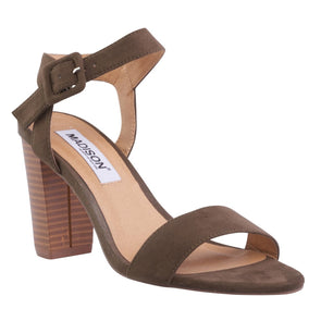Melantha Olive Block Heels-Madison Heart of New York