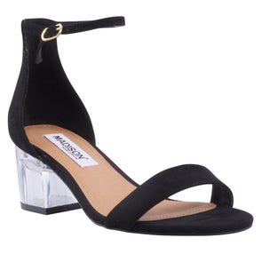 Mila Black Suede Block Heels-Madison Heart of New York