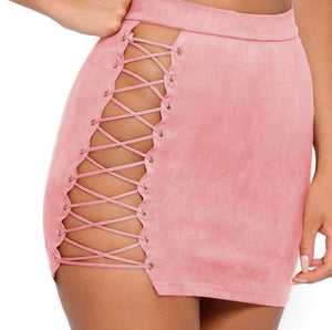 Faux Suede Lace Up Set- Pink