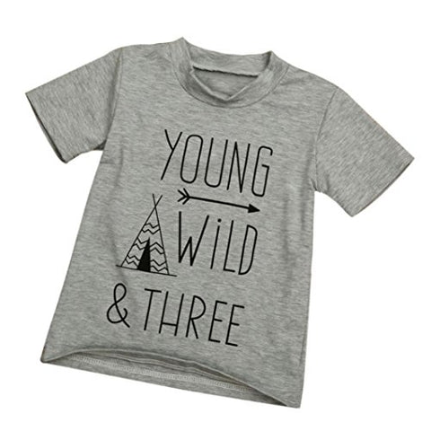 """Young Wild & Three"" Letter Pattern T-shirt"