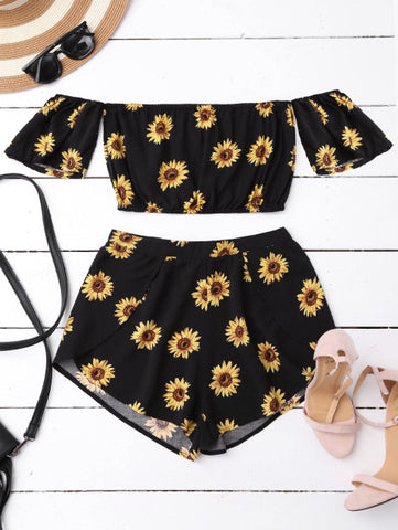Bohemain Off Shoulder Floral Print Crop Top 2pc Suit Set