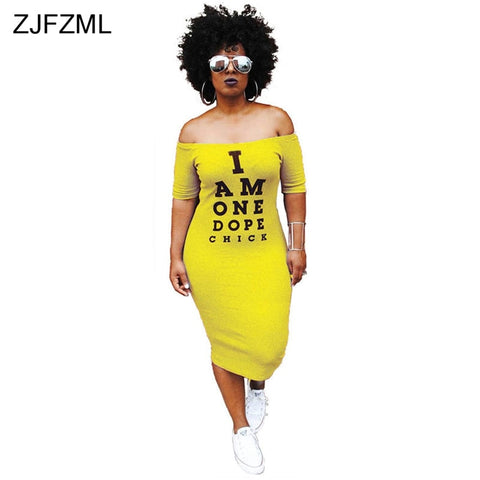 I Am One Dope Chick Off The Shoulders Dress