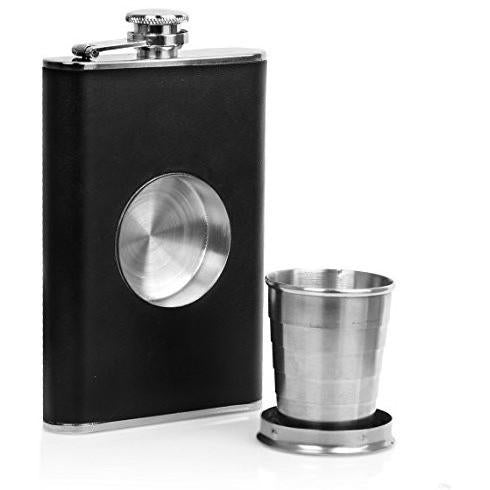 Ivation Hip Flask Shot Flask 8oz Stainless Steel & Genuine Leather