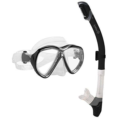 Ivation Snorkel Mask Set - Double Lens Diving Mask & Snorkel W/ Dry Top