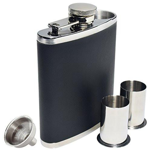 Ivation Hip Flask 6 Ounce w/ Faux Leather Cover