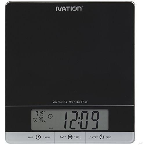Ivation Digital Kitchen Scale W/Timer, Clock