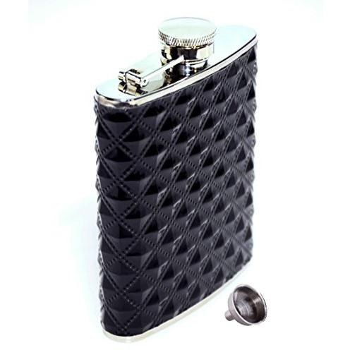 Ivation Hip Flask 6 Ounce Stainless Steel w/ Diamond Grip Polyurethane Cover