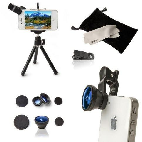 Ivation Universal 3-in-1 Fisheye, Wide Angle Macro Lens Kit & a Mini Tripod