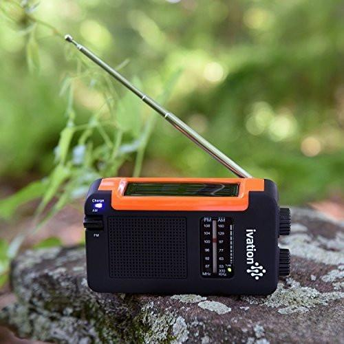 Ivation Portable Solar & Hand Crank Am/Fm Weather Radio