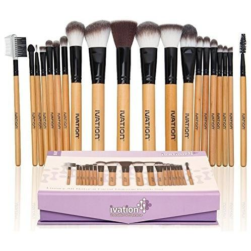 Ivation Cosmetics 20 Pieces Natural Facial Makeup Brush Set w/ Leather Pouch
