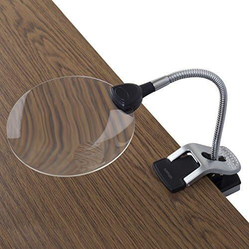 Ivation LED 2X Magnifier w/ 2 Flexible Hand Clamps & 5X Magnifier Inset Lens