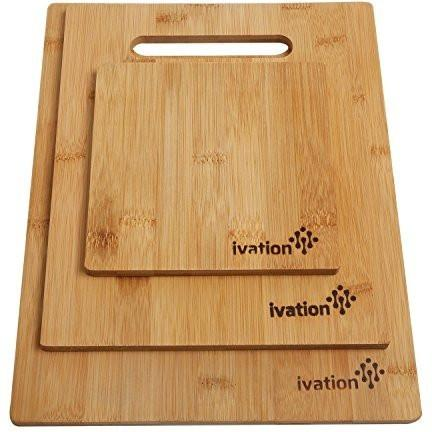Ivation Bamboo Cutting Board Set 3 Piece (Large, Medium, Small)