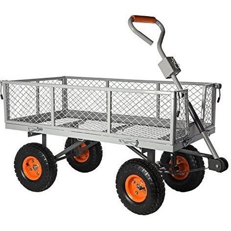 Ivation Garden Cart - Steel Mesh Convertible Flatbed Utility Wagon