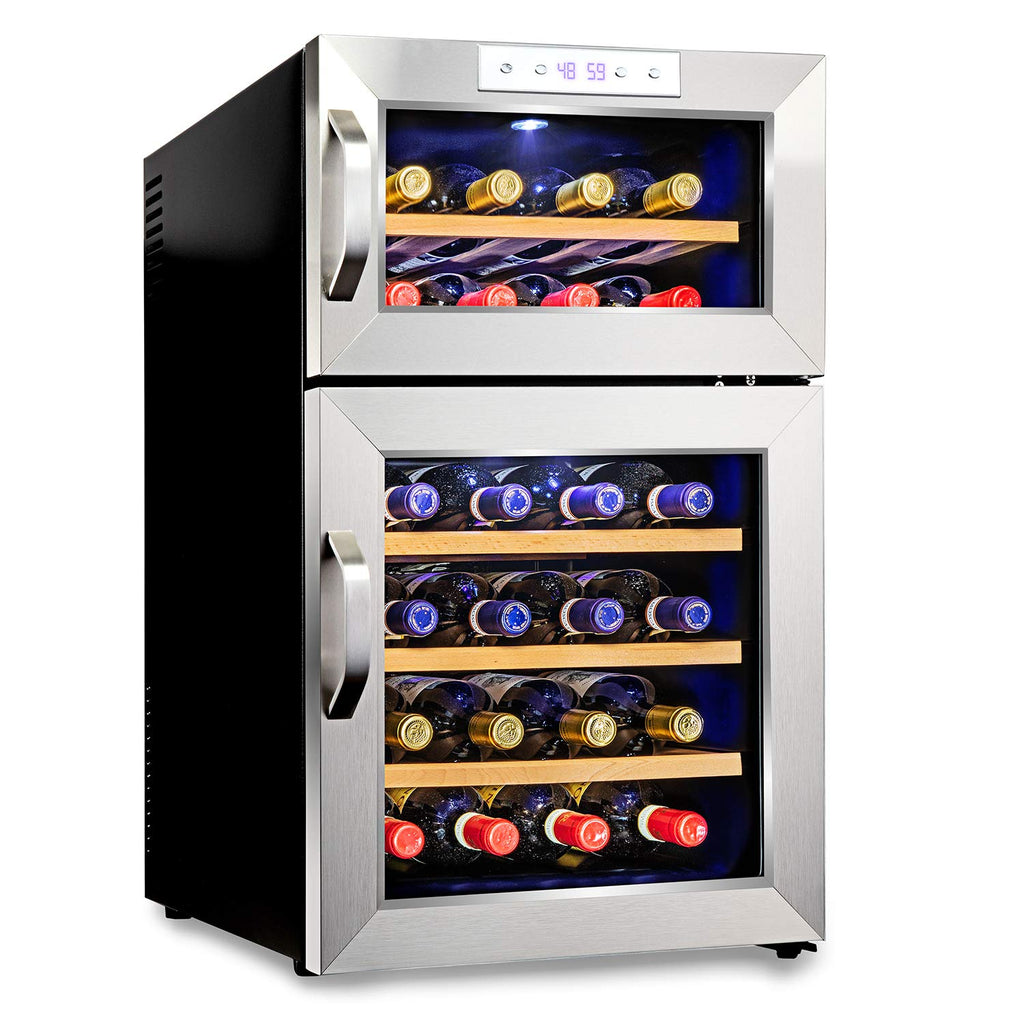 Premium Stainless Steel 24 Bottle Dual Zone Thermoelectric Wine Cooler