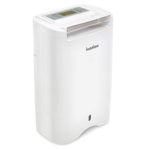 Ivation 19 Pint Small-Area Desiccant Dehumidifier Compact and Quiet - with Continuous Drain Hose for Smaller Spaces, Bathroom, Attic, Crawlspace and Closets - for Spaces Up to 410 Sq Ft