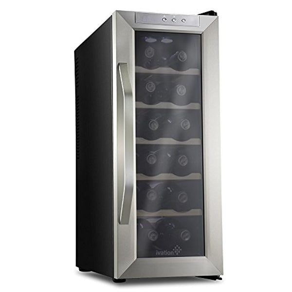 Ivation 12 Bottle Thermoelectric Stainless Steel Wine Cooler