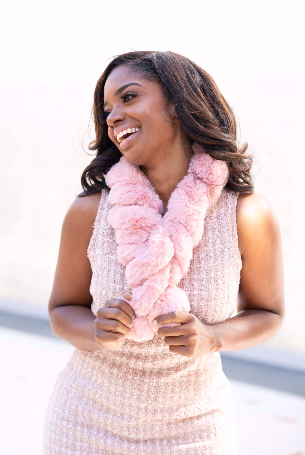 Luxury Pink Furry Scarf