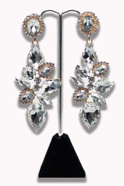 Crystal Studded Gold Statement Earring