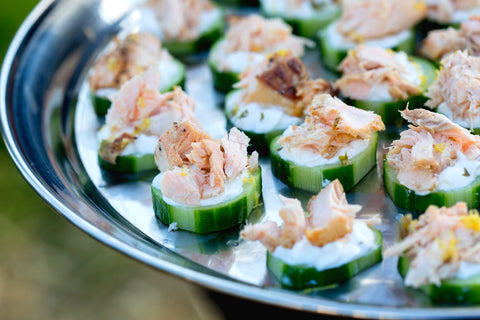 Sliced Cucumber topped with tuna.