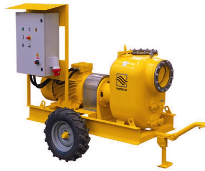 long coupled yellow pump with trolley mount