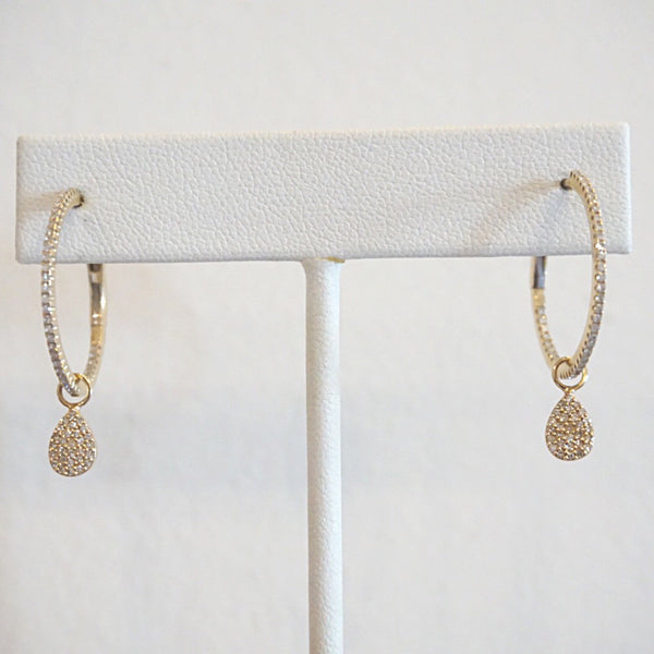 Pavé Tear Drop Hoop Charms