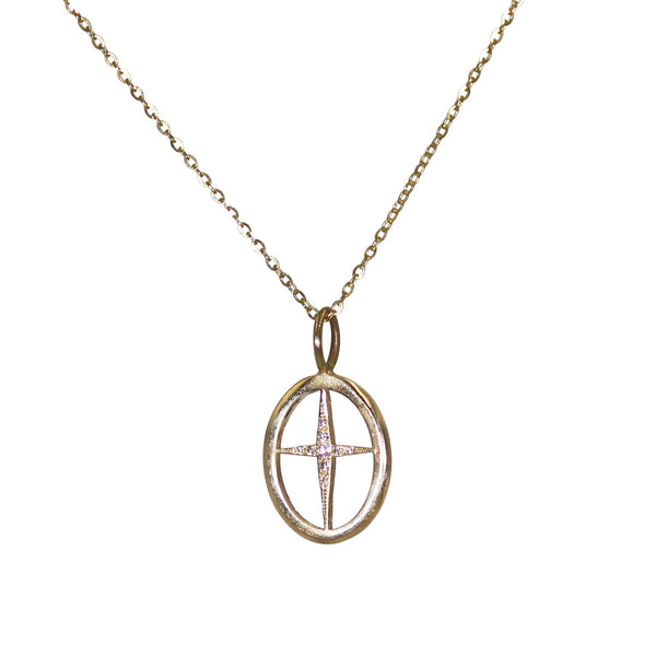 Open Oval Cross Pendant Necklace