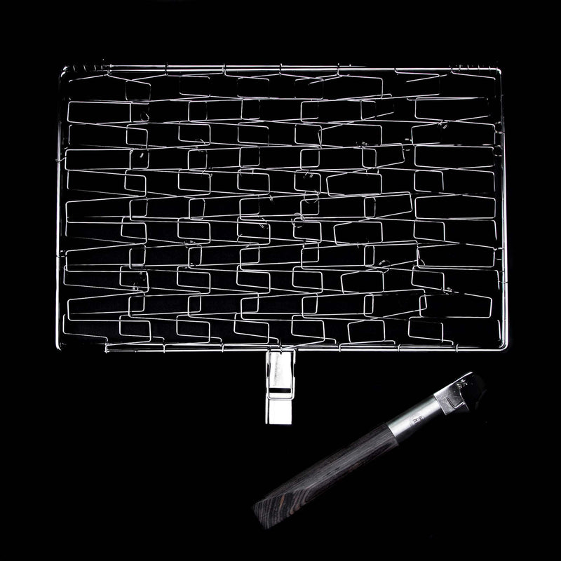 Schmidt Brothers BBQ Schmidt Brothers - BBQ Ash Fill & Grill, Flexible Stainless Steel Grill Basket with Wire Mesh and an Extra Long Removable Wood Handle, Dishwasher Safe
