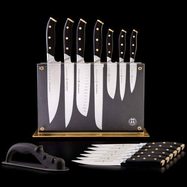 Schmidt Brothers Kitchen Cutlery Schmidt Brothers, Black & Brass, 15-Pc Knife Block Set