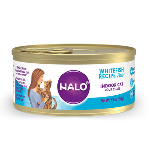 Halo Grain Free Indoor Cat Whitefish Pate Canned Cat Food