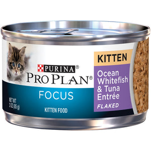 Purina Pro Plan Focus Kitten Ocean Whitefish and Tuna Entree Flaked Canned Cat Food