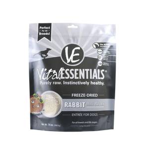 Vital Essentials Freeze Dried Grain Free Rabbit Mini Patties Entree for Dogs Food