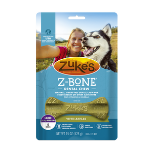 Zukes Z-Bones Grain Free Clean Apple Crisp Dental Dog Treats