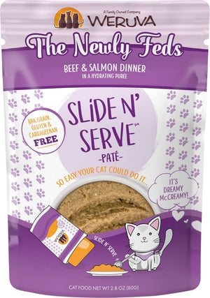 Weruva Slide N' Serve Grain Free The Newly Feds Beef & Salmon Dinner Wet Cat Food Pouch