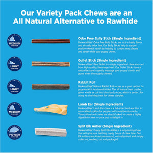 Barkworthies Dog Chew Variety Pack for Puppies & Small Breeds