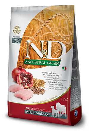 Farmina N&D Natural & Delicious Ancestral Grain Chicken & Pomegranate Medium & Maxi Adult Light Dry Dog Food