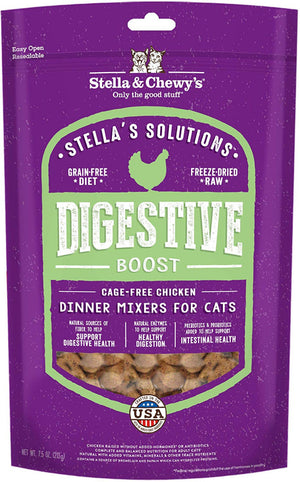 Stella & Chewy's Solutions Digestive Boost Cage Free Chicken Cat Food Dinner Mixers