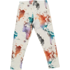 kids organic cotton leggings with world map  print