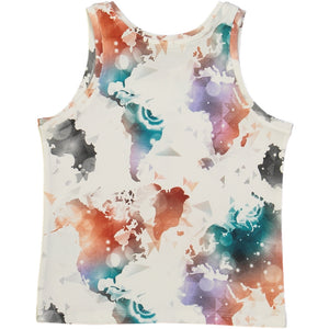 organic cotton kids tank top with colourful world map print
