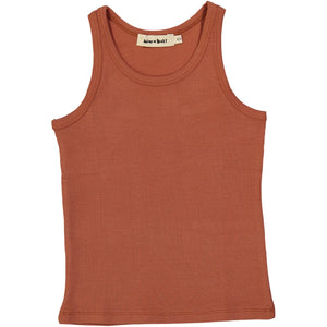 kids ribbed organic cotton tank top, terracotta colour
