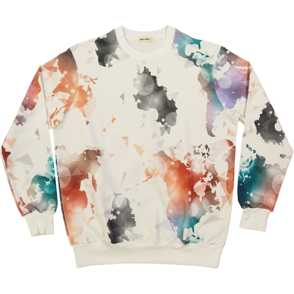 organic cotton adult sweater, with colourful world map print
