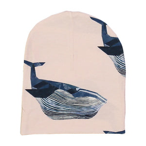 kids organic cotton beanie with whale print